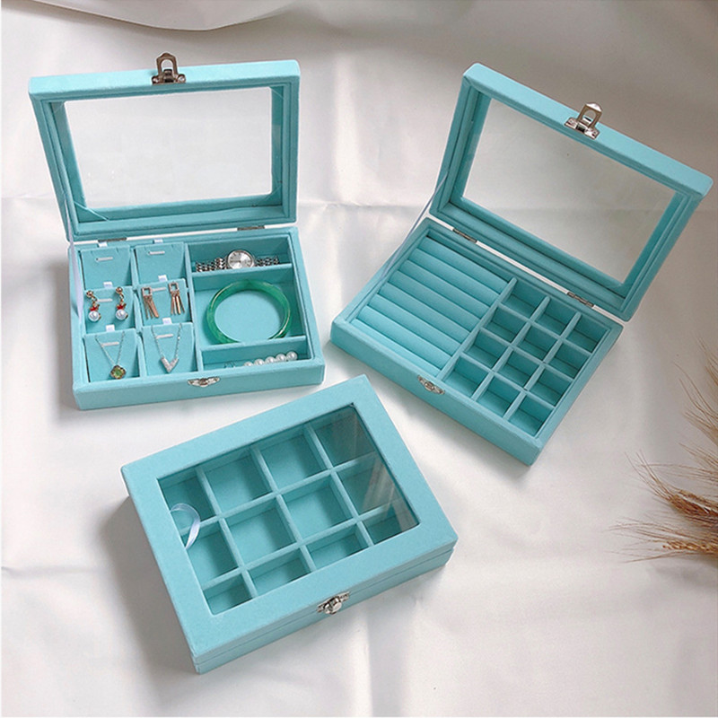 Small Blue Velvet Carry Case With Glass Lid Jewelry Ring Display Stand Storage Box Holder Organizer Ring Earrings