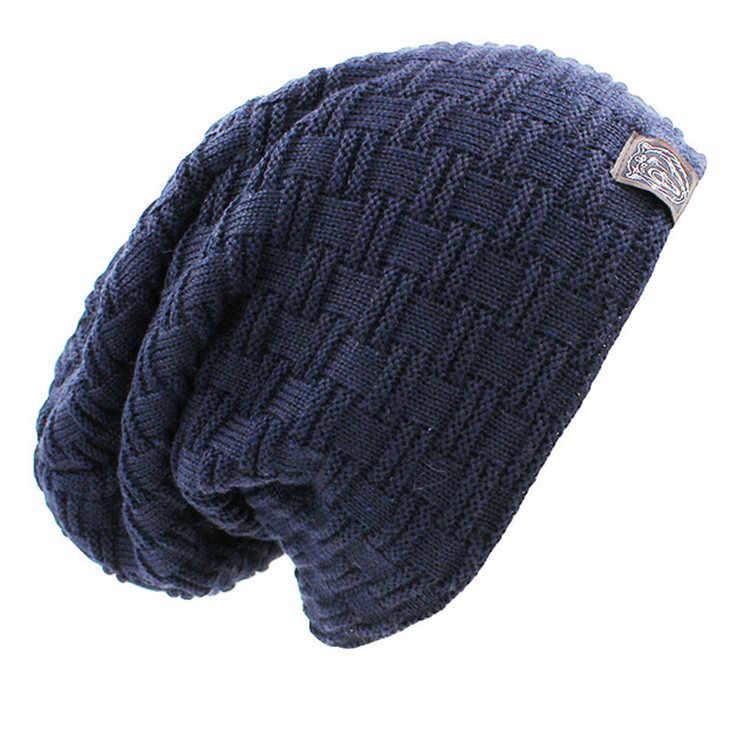 Męska czapka zimowa w stylu casual markowa czapka z dzianiny kapelusze damskie czapka z daszkiem Plus aksamitna czapka z daszkiem Rasta