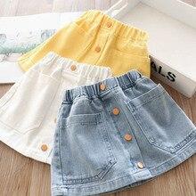 Ковбойская юбка с 4 пуговицами на талии для девочек, детская короткая юбка, детская одежда,, весна