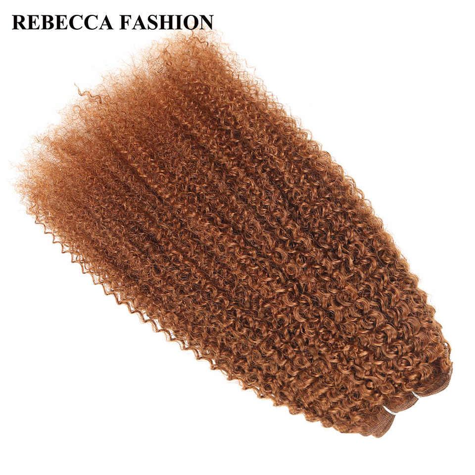 Rebecca Remy Menschenhaar 100g Brasilianische Afro verworrene Welle Haarwebart Bundles Mixed Blonde Pre-Farbige Für Salon haar Extensions