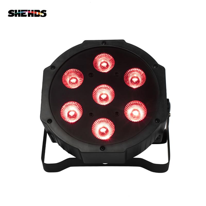 SHEHDS Remote LED Par 7x18W RGBWA UV Disco Light DMX 6/10 DMX Channels Party DJ Lighting Design PAR Light For Club Party Show