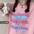 Яркая розовая мягкая женская футболка в Корейском стиле с изображением милого любящего сердца и коротким рукавом, Женская свободная футбол...
