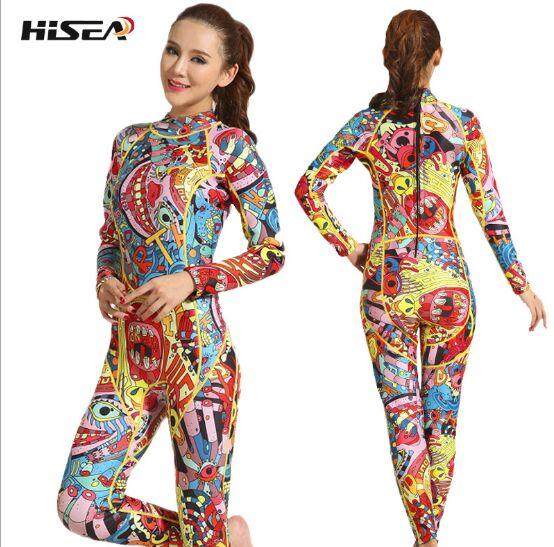 HISEA 3mm mulheres neoprene wetsuit impressão a cor da costura Equipamento De Mergulho De Surf Jellyfish roupas por muito tempo sleeved peças equipado