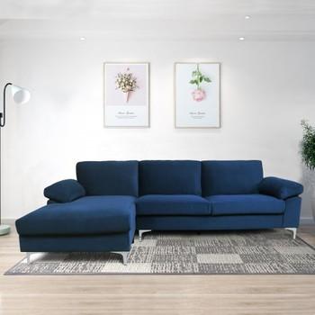 Navy Blue Modern Sectional Sofa  1