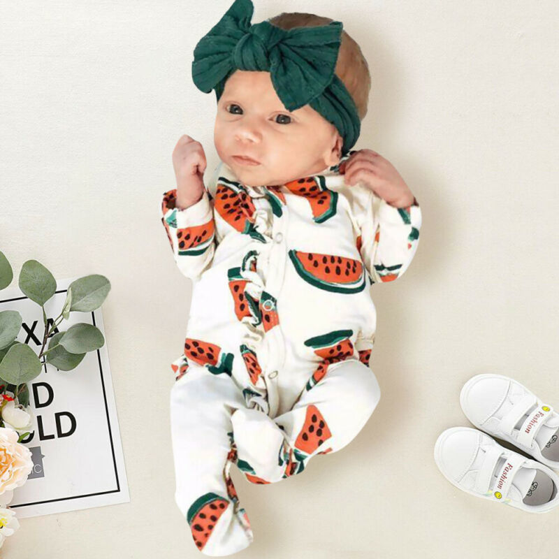 Newborn Toddler Baby Boy Girl Clothes Cute Watermelon Print Romper Long Sleeve Wrapped Foot Jumpsuit New Born