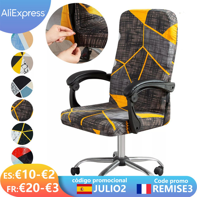 M/L Geometry Printed Elastic Stretch Office Computer Chair Cover Dust-proof Game Chair Slipcover Rotatable Armchair Protector 1