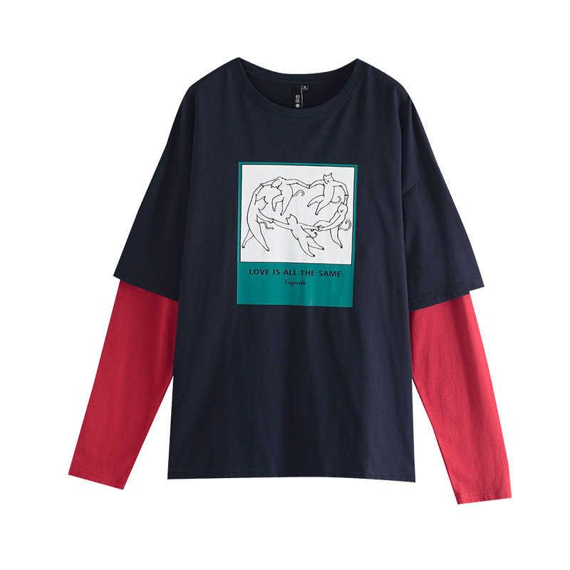 Toyouth パッチワークロングスリーブ Tシャツ漫画のプリントラウンドネック Tシャツヒットカラー秋トップス