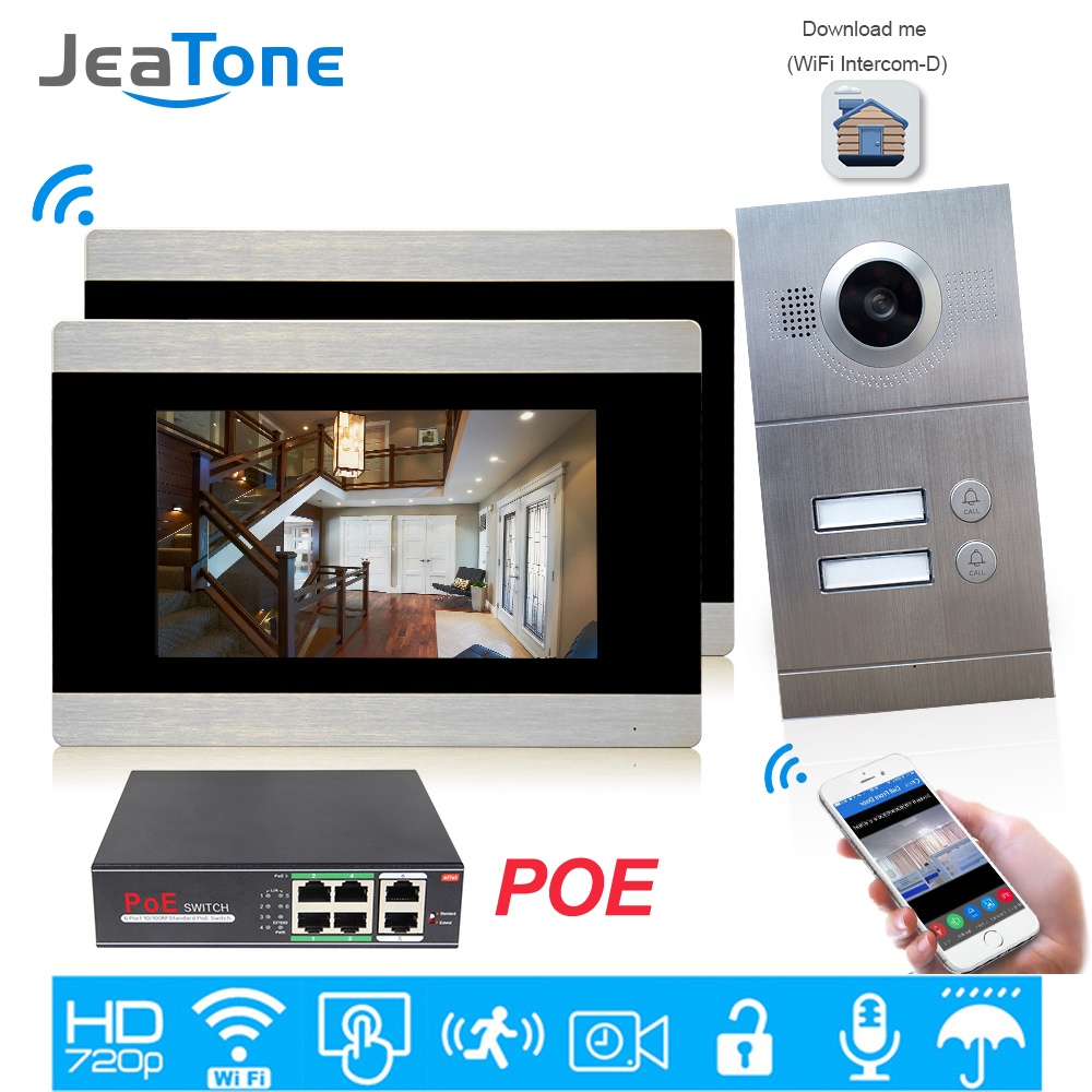JeaTone 720P WIFI IP Video Door Phone Intercom System For 2 Floors Apartment/8 Zone Alarm Support IOS/Android APP Remote Unlock