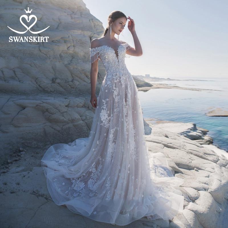 Sweetheart 3D Flowers Wedding Dress Swanskirt Appliques Off Shoulder A-Line Lace Up Princess Bridal Gown Vestido De Noiva LZ22
