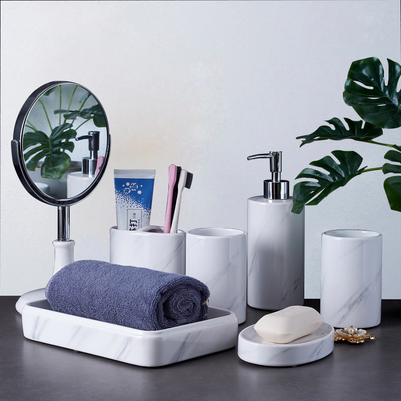 Bathroom Accessories Set Soap Dispenser Toothbrush Holder Gargle Cups Soap Dish With Tray Bathroom Mirror Ceramic Wedding Gifts