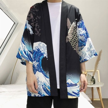 Kardigan Kimono mężczyźni japoński obi mężczyzna yukata męska haori japoński samuraj odzież tradycyjna japońska odzież AA001 tanie i dobre opinie EASTQUEEN COTTON Poliester Odzież azji i pacyfiku wyspy Połowa Tradycyjny odzieży
