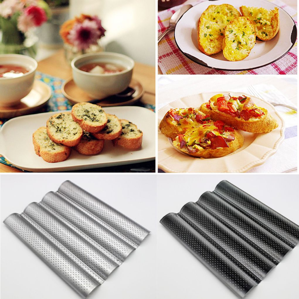 French Bread Baking Mold Bread Wave Baking Tray Cake Baguette Mold Pans 2/3/4 Groove Bread Baking Tools