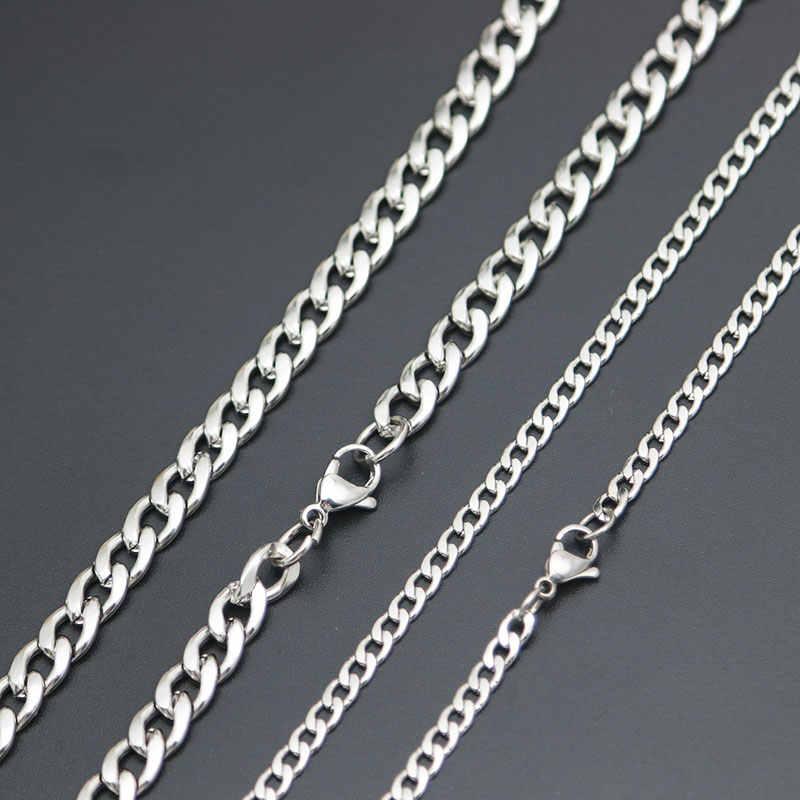Perak Emas Link Jalan Rantai Pria Titanium Stainlee Steel Figaro Datar O Link Rantai 3-9 Mm Lebar dan Besar Kalung Wanita Grosir