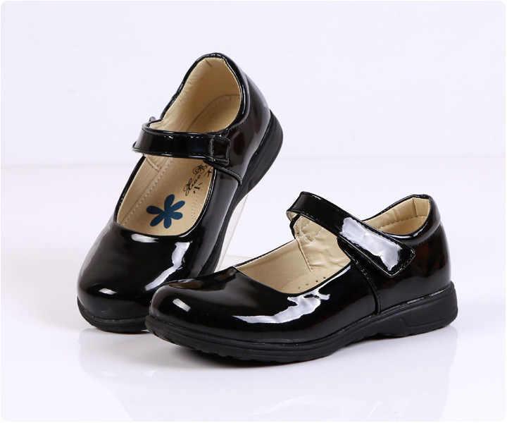 หญิงรองเท้าสีดำ PU หนังเด็กสาวรองเท้านักเรียนโรงเรียนประถมศึกษารองเท้า 26-41D55 TX03
