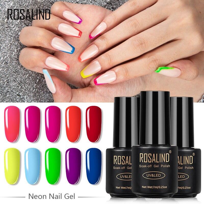 Неоновый Гель-лак для ногтей ROSALIND, Полупостоянный УФ-лак для ногтей гибридные Лаки, флуоресцентный неоновый Гель для маникюра, верхнее покр...