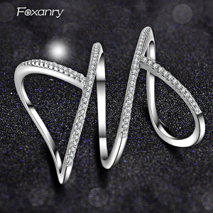 Foxanry Wholesale 925 Sterling Silver Sparkling Single Rings for Women Couples New Fashion Elegant Party Jewelry Adjustable