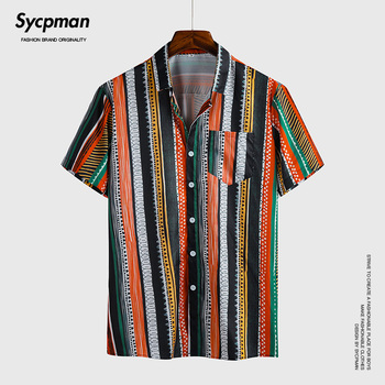 New ice silk mix and match striped short sleeve shirt for men's three-dimensional business trip party