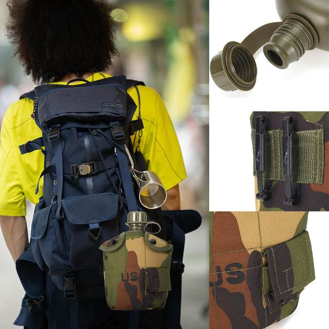 Heavy Cover Army Water Bottle Aluminum Cooking Cup Military Canteen Camping Hiking Survival Kettle Outdoor Tableware 5