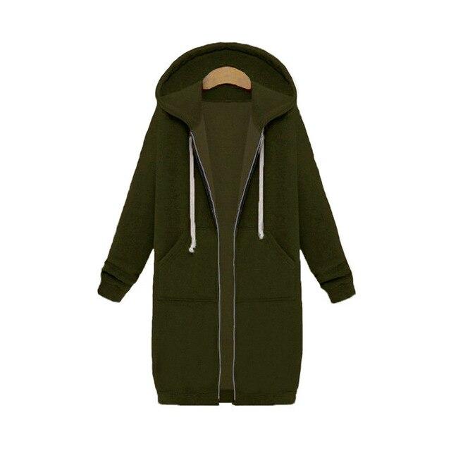 Once 2020 Autumn Casual Women Long Hoodies Sweatshirt Coat Zip Up Outerwears Hooded Jacket Winter Pockets Plus Size Outwear Tops 2