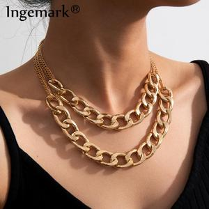 Punk Miami Cuban Aluminum Chain Necklace Collar Statement Multilayer Hiphop Big Chunky Thick Link Choker Necklace Women Jewelry