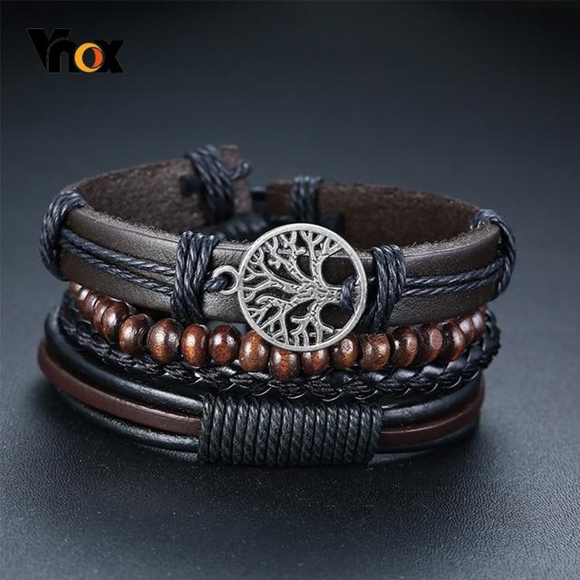 Vnox 3/4Pcs/ Set Braided Wrap Leather Bracelets for Men Vintage Life Tree Rudder Charm Wood Beads Ethnic Tribal Wristbands 1