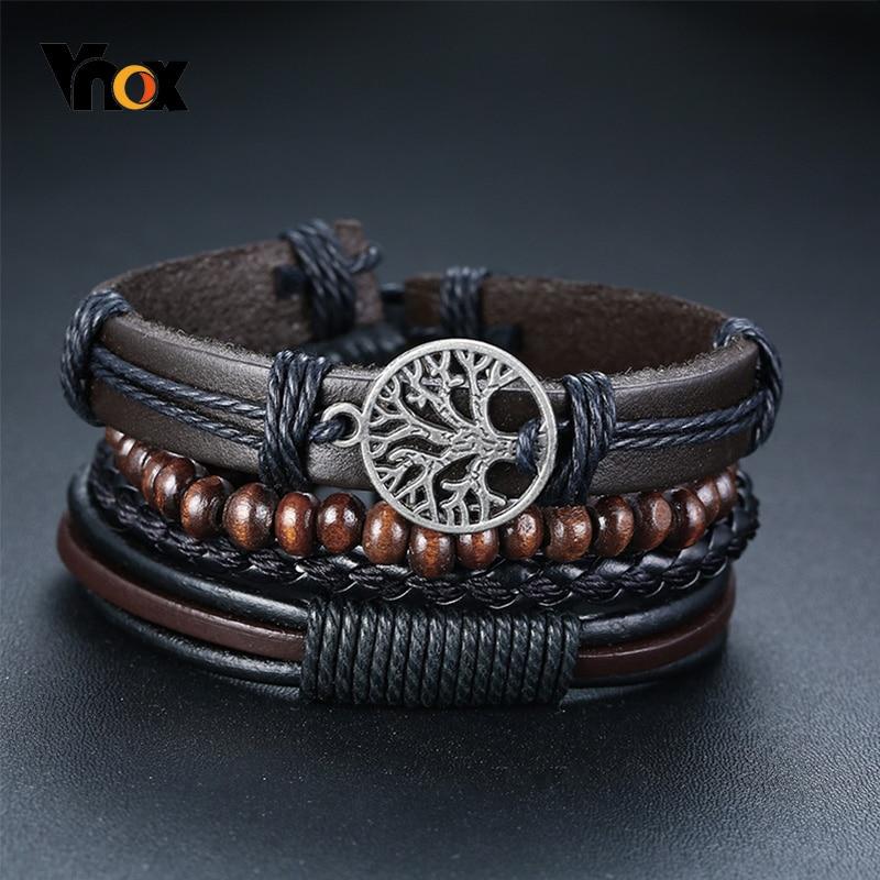 Vnox 4 Teile/satz Geflochtene Wrap Leder Armbänder für Männer Vintage Leben Baum Ruder Charme Holz Perlen Ethnische Tribal Armbänder