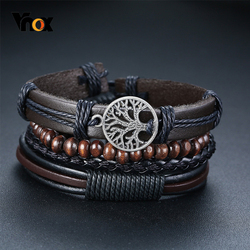 Vnox 4Pcs/ Set Braided Wrap Leather Bracelets for Men Vintage Life Tree Rudder Charm Wood Beads Ethnic Tribal Wristbands