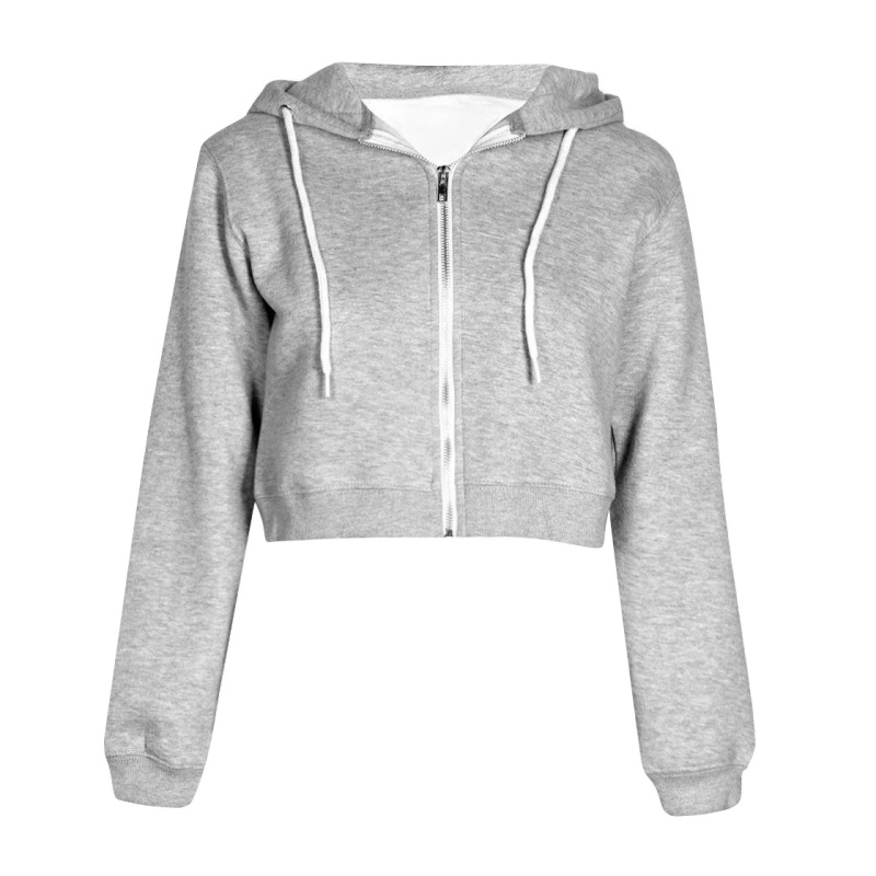 Women Autumn Spring Tops Drawstring Hooded Long Sleeve Hoodie Sweatshirts Zip Up Crop Casual  Jacket Zipper Outwear