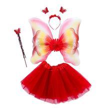 Headband Tutu-Skirt Tulle Rainbow Girls Halloween Princess 3-8T Three-Layers 4pcs Fairy-Costume-Set