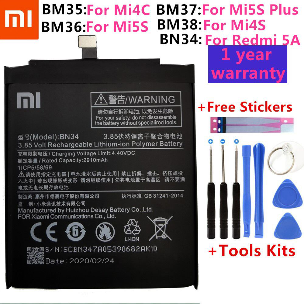 BM35 BM36 BM37 BM38 BN34 батарея для Xiaomi Redmi 5A 5,0
