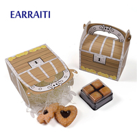 50PCS Small Holloween Box Handle Wooden Muffin Cake Packaging Box Pirate Gift Candy Box Boy Skeleton Baking Kid Birthday Party