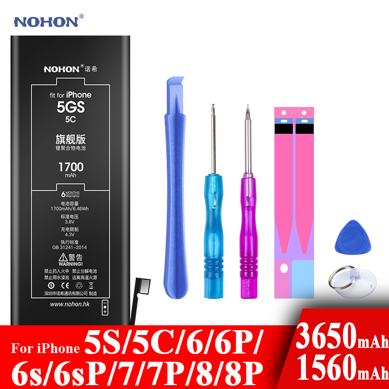 Nohon Battery For Apple iPhone 5S 5C 6 6s 7 8 Plus 6P 6sP 7P 8P Li-polymer Batteries +Tools For Apple iPhone 5S 5C 6 6s 7 8 Plus title=