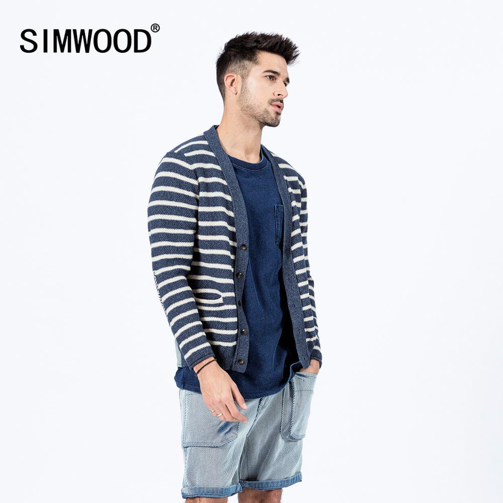 SIMWOOD 2020 Spring New 100% Cotton Striped Cardigan Men Back Denim Patchwork Kint Jackets Plus Size Indigo Kintwear SI980519