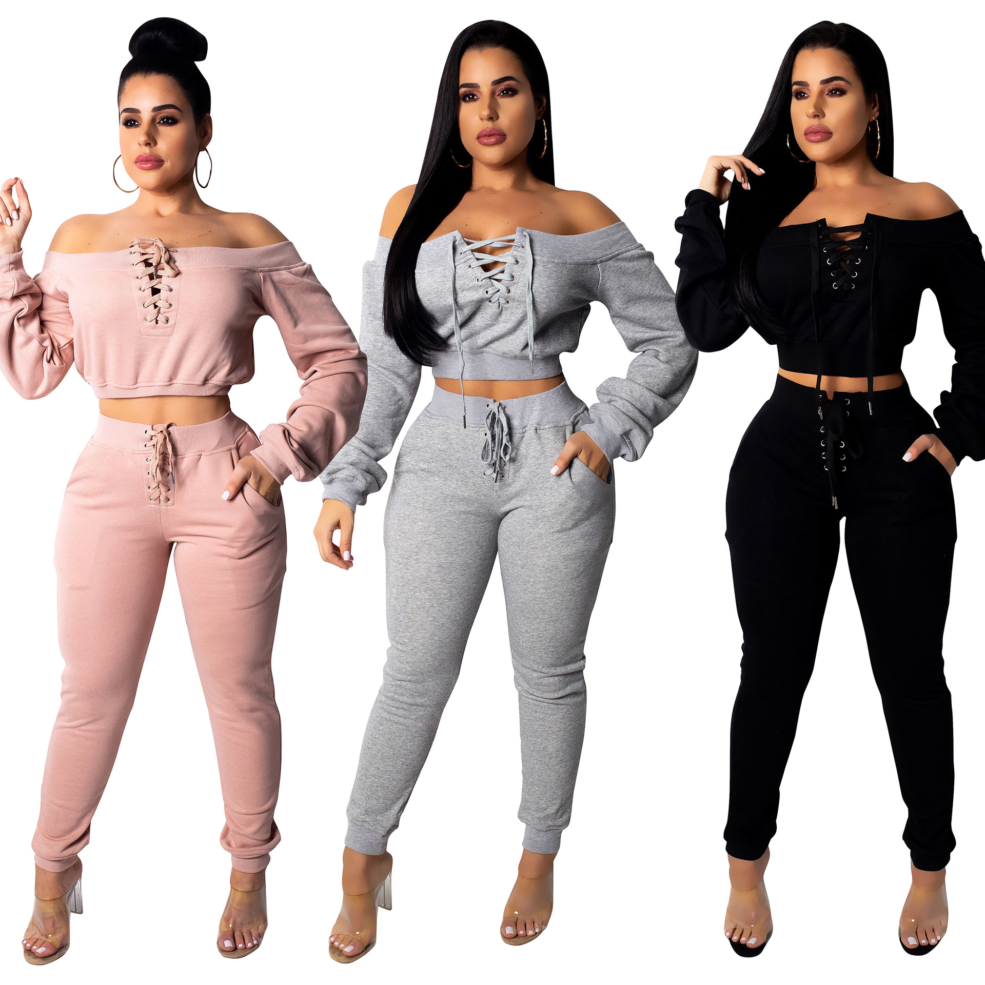 Echoine Autumn Winter Women Two Piece Set Crop Top And Pants Sexy Off-shoudler Grommmet Casual Matching Set Tracksuit Sportwear