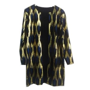Image 2 - Autumn Leopard Bronzing Sweater Outerwear O neck Medium long Cardigan Shinny Golden Contrast color Jumper Sweater Tops