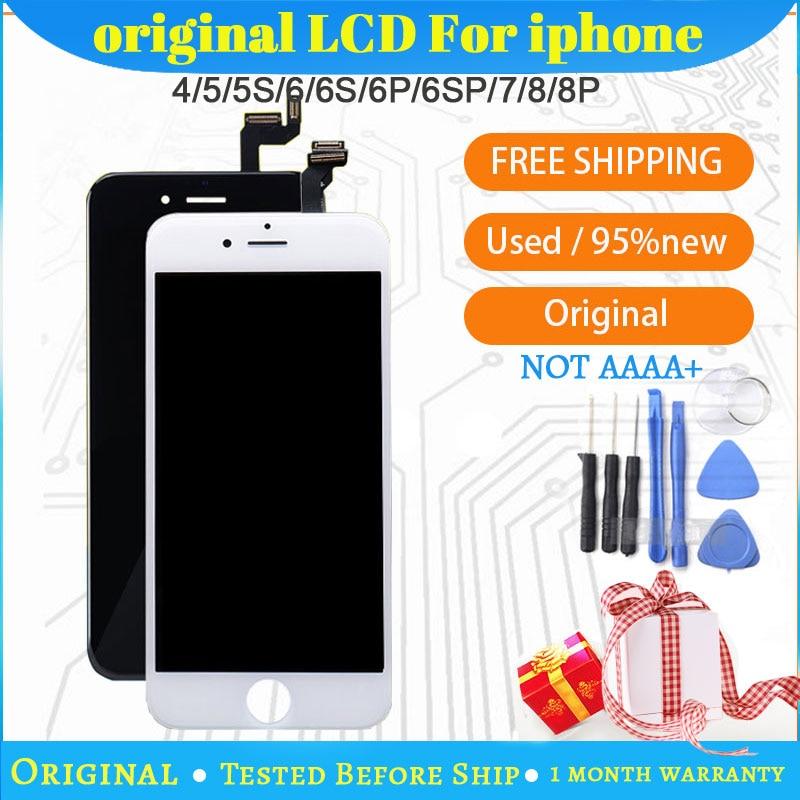 100% оригинальный для iPhone 4 5S 6 6S 7Plus с ЖК-дисплеем в сборе в комплекте с 3D силы сенсорный экран для iPhone 8 замена экрана дисплея