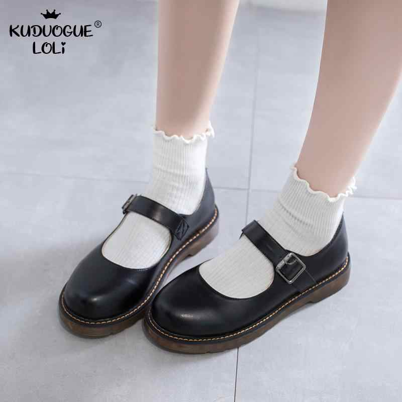 Đồ Chơi Cosplay Nhật Bản Sinh Viên Lolita Giày Cao Đẳng Nữ Giày Nữ JK Đi Lại Đồng Nhất Giày Da PU Kawaii Nền Tảng Mùa Xuân Flat