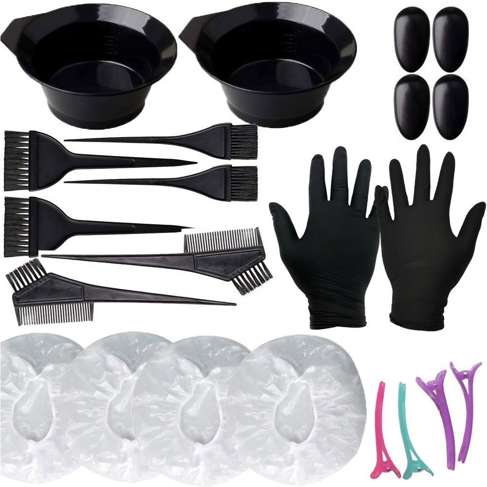 22pcs Earmuff Latex Gloves Color Mixing Dye Bowl Comb Brush Styling Hair Tint Tool Set Shower Cap Coloful Hairclips Home Salon
