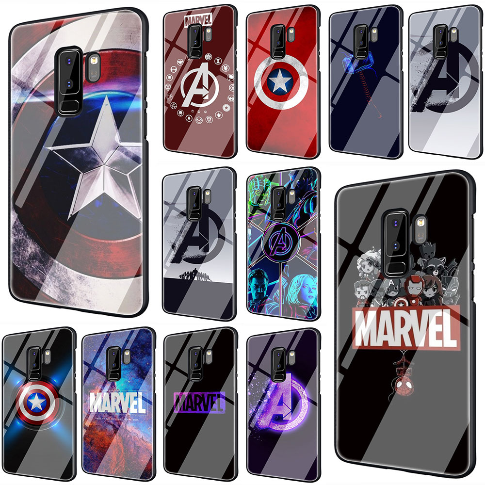 EWAU <font><b>Marvel</b></font> avengers <font><b>Logo</b></font> Tempered Glass phone <font><b>case</b></font> for <font><b>Samsung</b></font> S7 Edge S8 S9 S10 Note 8 9 10 plus A10 20 30 40 50 60 70 image