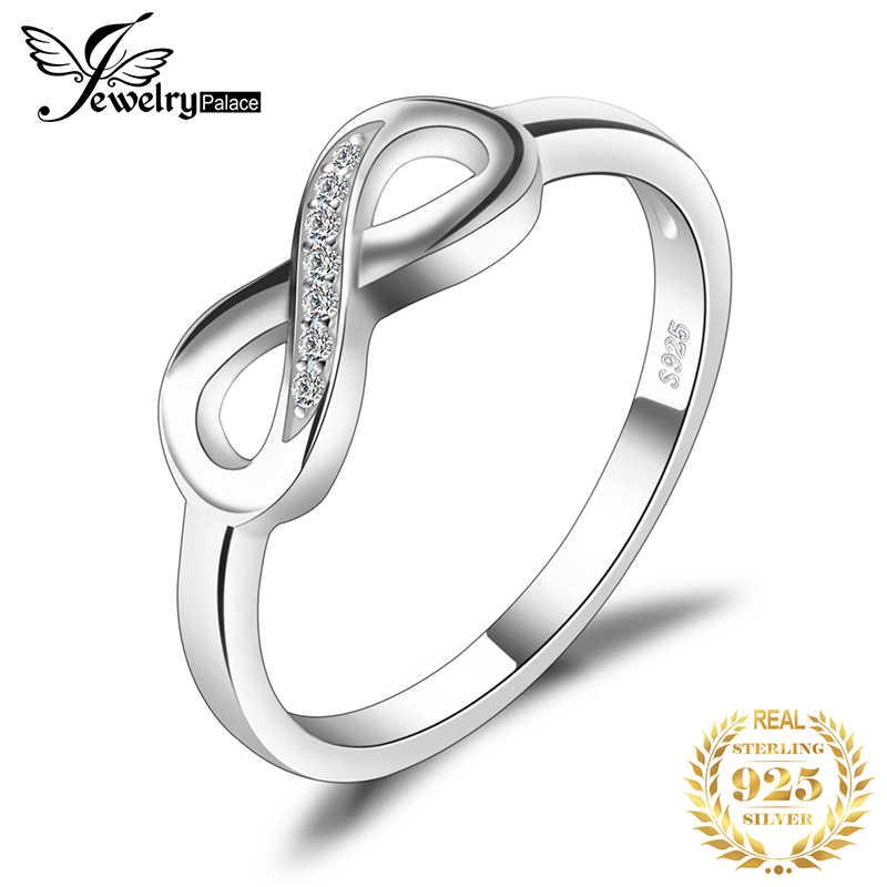 JewelryPalace infinito amor para siempre Cubic Zirconia aniversario promesa anillo para las mujeres genuino Plata de Ley 925 joyería fina