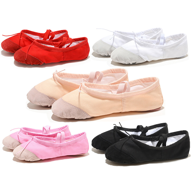 USHINE Leather Head Indoor Exercising Shoes Yoga Practice Slippers Gym Children Canvas Ballet Dance Shoes Girls Woman Kids