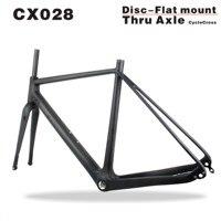 Novo design de montagem plana bicicletas cyclocross quadro de carbono através do eixo cx quadro de bicicleta de fibra de carbono quadro 700 * 40c 49cm