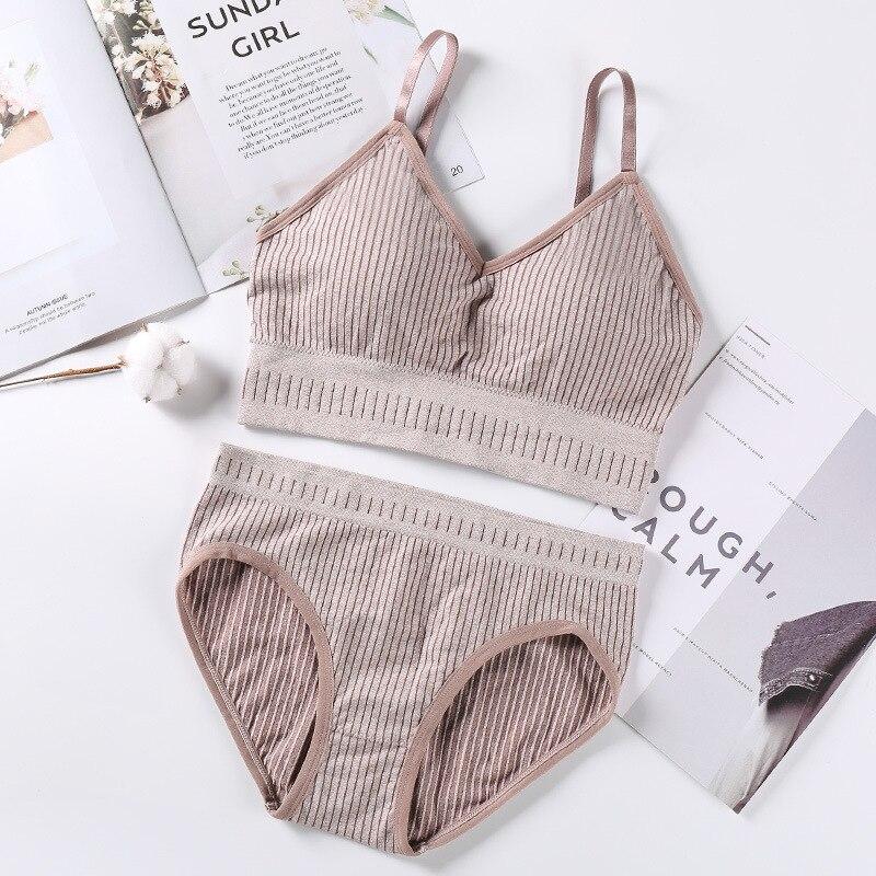 Striped Women Bra Panties Set Active Bra Sports Top Comfort Seamless Underwear Set Sexy Lingerie Set