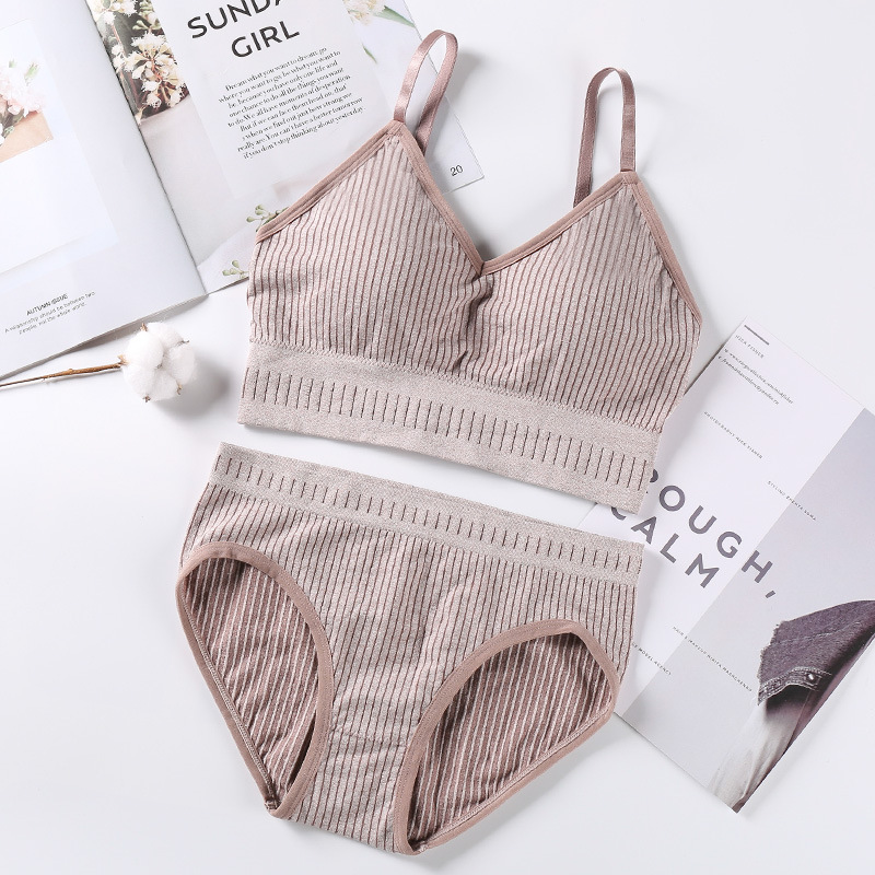 Striped Women Bra Set Knitting Active Bra Sexy Lingerie Set Sports Top Seamless Comfort Underwear Set