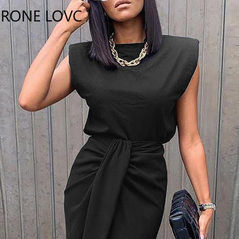 Women Sold Sleeveless Top & Slit Twisted Midi Skirt Set Elegant Fashion Chic Dress 2