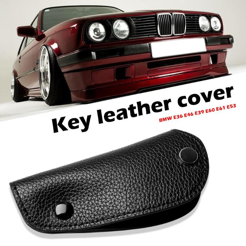 For BMW E36 E46 E39 E60 E61 E53 Key Case Litchi Synthetic Leather Cover using lychee title=