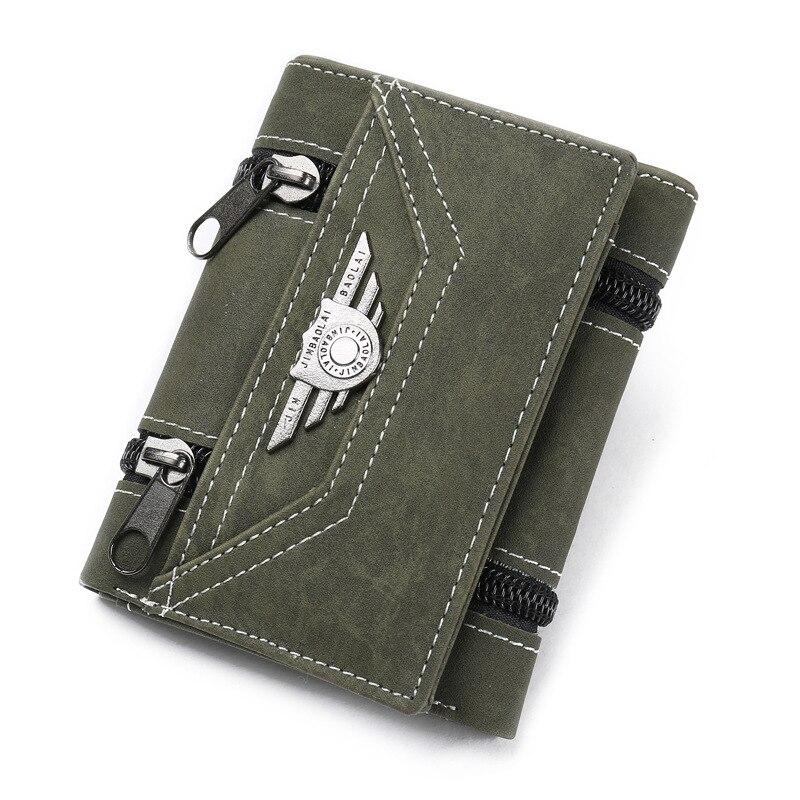 Модные кошельки с заклепками, винтажный Кошелек из искусственной кожи для мужчин, лаконичный качественный тонкий кошелек,, органайзер для денег и карт - Цвет: ArmyGreen
