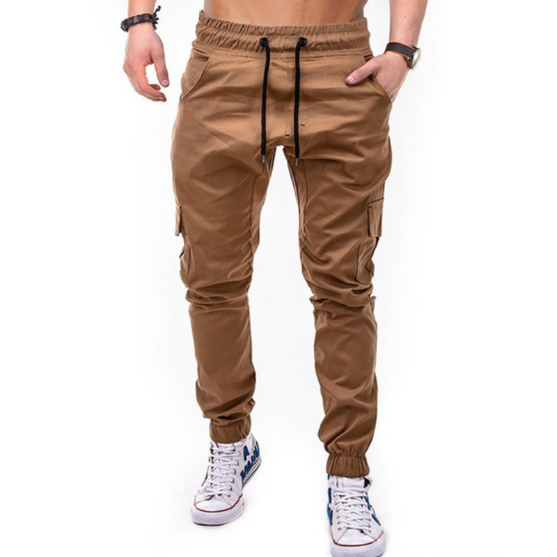 Main Push 2019 New Style Workwear Multi-pockets MEN'S Trousers Woven Fabric Casual Sports Run Ankle Banded Pants Men's