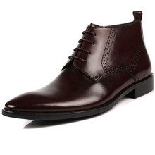 Italian Business Man Formal Ankle Boots Retro Brogue Pointed Toe Zipper Top