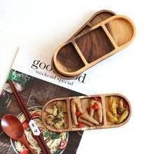 Plato de madera maciza para aperitivos y salsas, Tapas para verduras en escabeche, platos para condimentos, salsas, botes para azúcar y crema, 3 rejillas